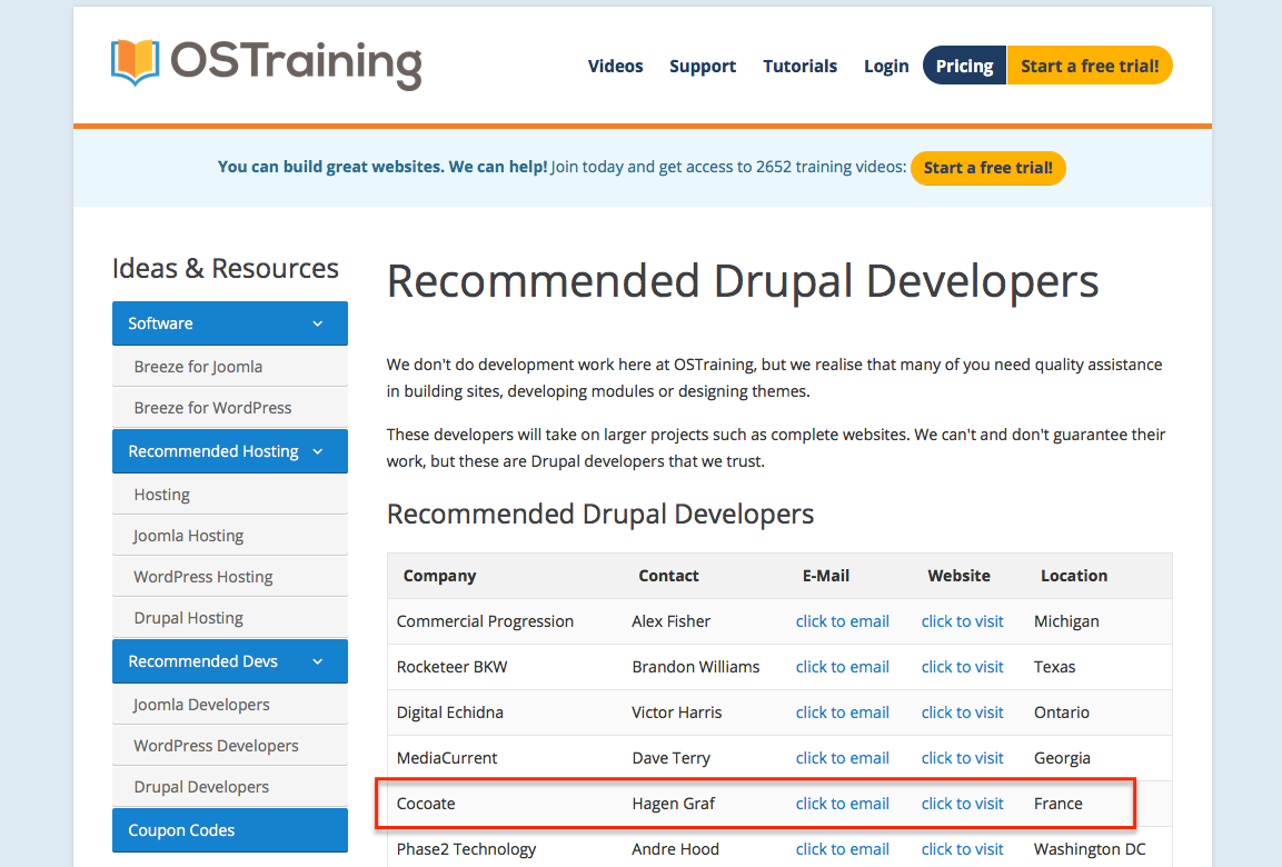 Recommended Drupal Developers