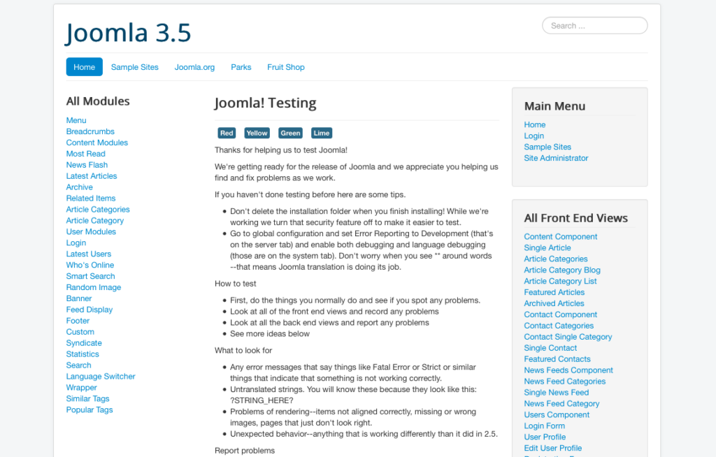 Figure 10: Test Joomla data