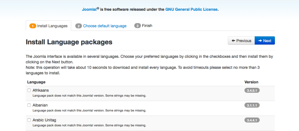 Figure 12: Install Language packages