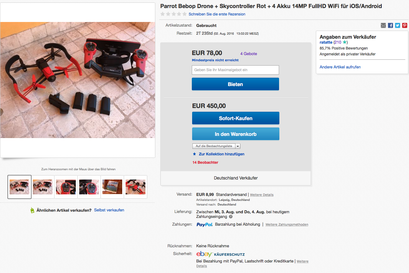 Parrot Bebop Drone + Skycontroller Rot + 4 Akku 14MP FullHD WiFi für iOS/Android