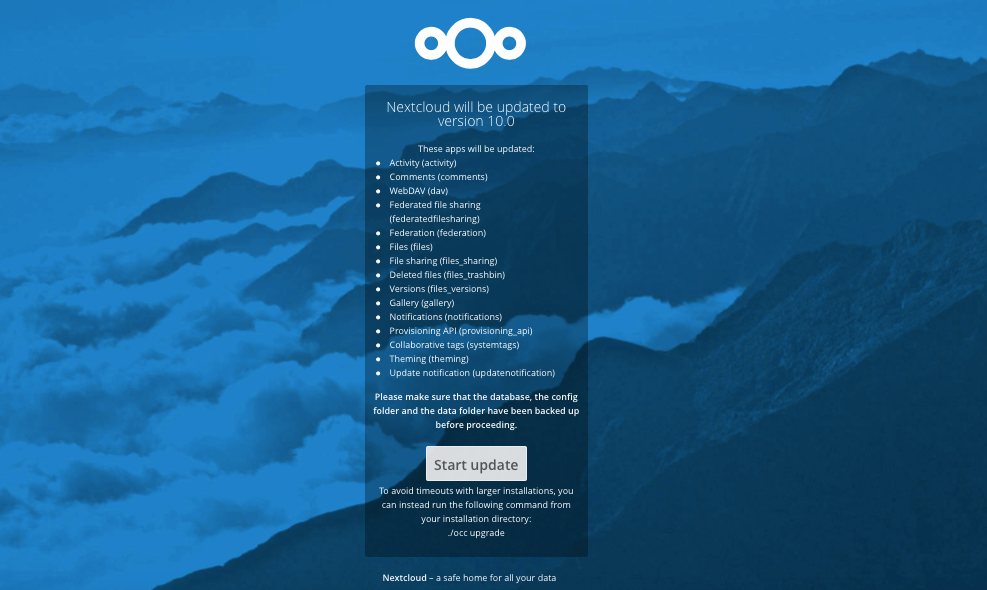 Nextcloud 10 - Database Update