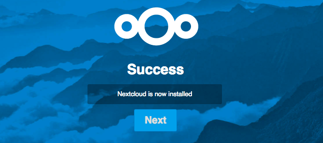 Nextcloud - Web Installer - Success