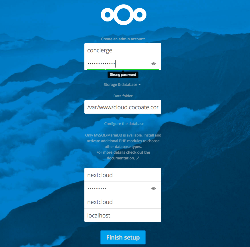 Nextcloud - database configuration