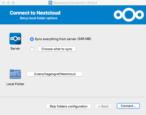Nextcloud Connection Wizard - Setup local folder options