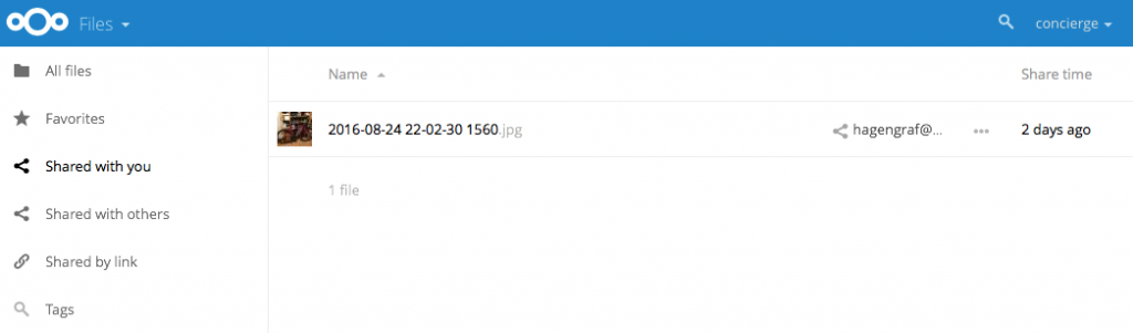 Nextcloud - Shared with you