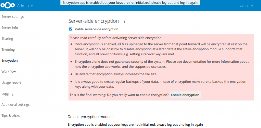 Enable server-side encryption