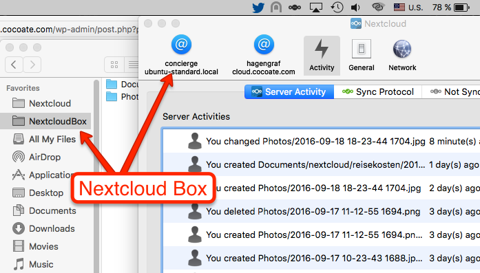 Nextcloud OSX Client with Nextcloud Box folder