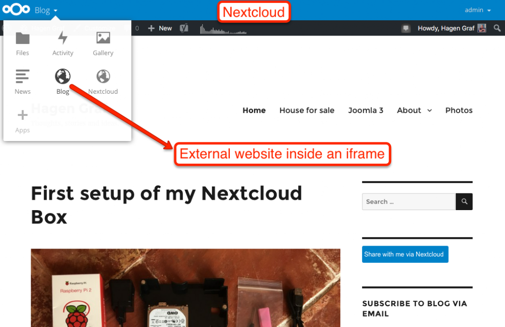 External website in an iframe